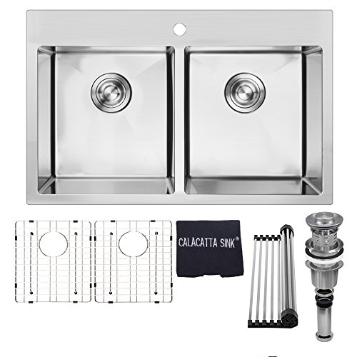 Calacatta Kitchen Sink 30-inch Handmade Topmount Drop In Double Bowl Stainless Steel 304 18 Gauge Kitchen Sink w/Faucet Hole Drain Strainer Grid & Dish Cloth, TM3019