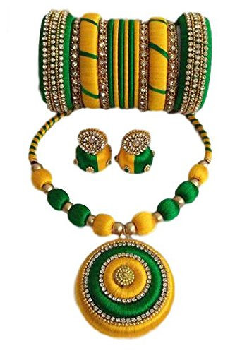 057fc099ce Buy Green and yellow colour silk thread jewellery set Online at Low Prices  in India | Amazon Jewellery Store - Amazon.in