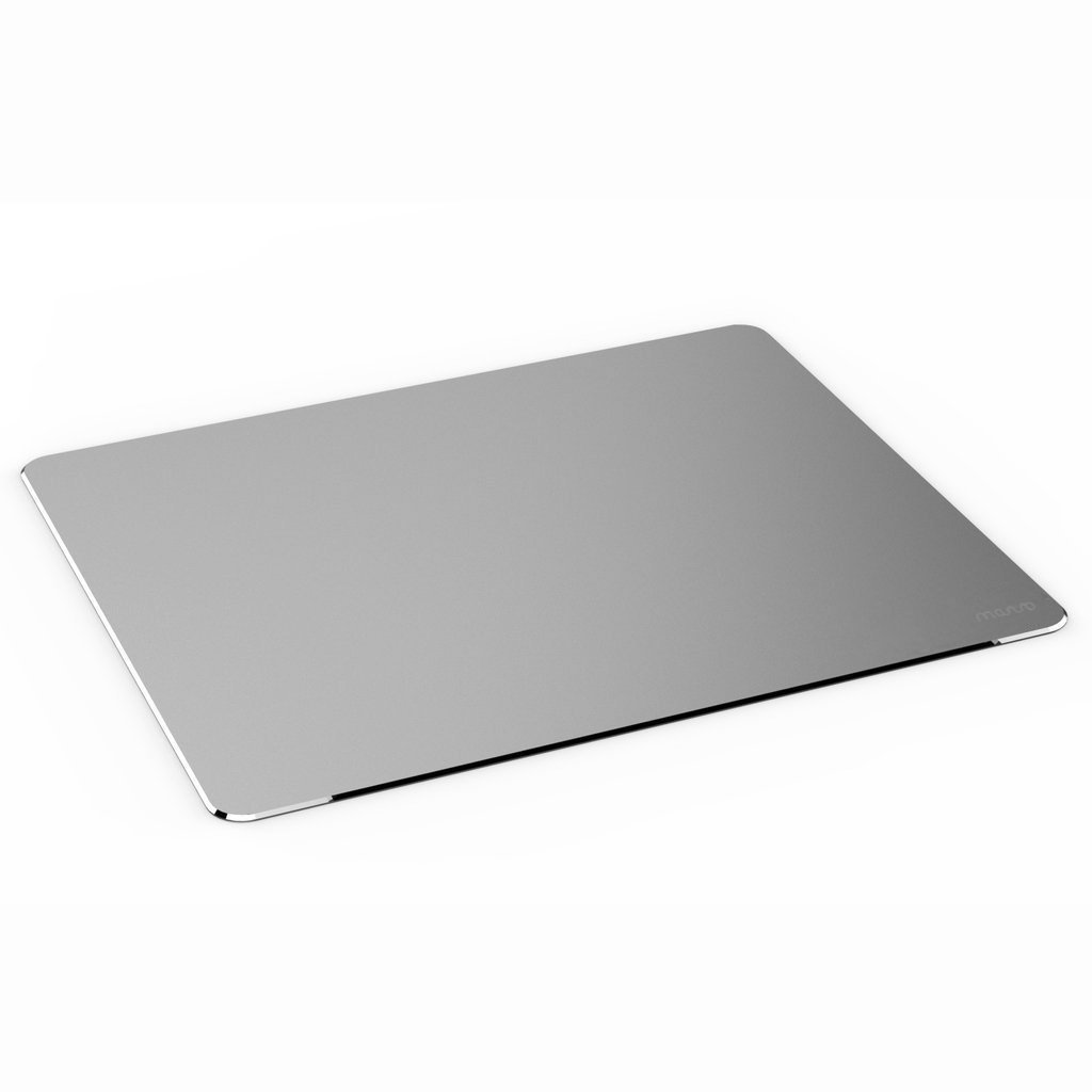 Mosiso Mouse Pad, Aluminum Alloy Gaming Mousepad with Fast and Accurate Control Non-Slip Rubber Base for Macbook, iMac, Notebook, PC, and Laptop Computer, Silver 01