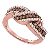 Brown Diamond Cocktail Ring Solid 10k Rose Gold Band Chocolate Fancy Curve Design Fashion Style 3/4 ctw