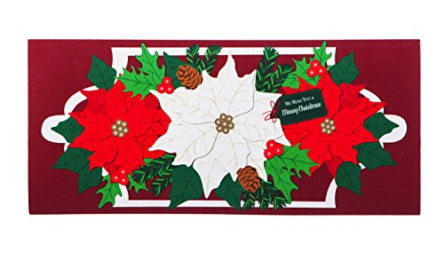 Evergreen Holiday Poinsettias Decorative Mat Insert, 10 x 22 inches