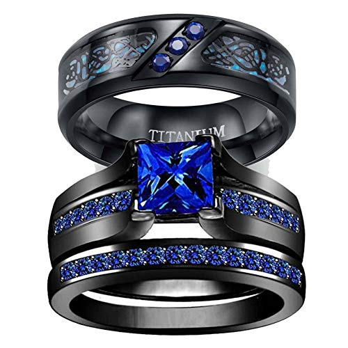 wedding ring set Two Rings His Hers Couples Rings Women's Black Gold Plated Blue Sapphire CZ Wedding Engagement Ring Bridal Sets & Men's Titanium Wedding Band