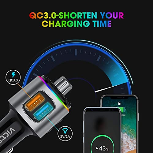 Bluetooth FM Transmitter for Car, Dynamic RGB Wireless Bluetooth Adapter Car Kit with V5.0, QC3.0 and Dual USB Charging Ports, Support Siri Google Assistant, Micro SD Card, Hands-Free Calling