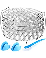 IPOW Dehydrator Rack, Dehydrator Stand for Ninja Foodi Accessories Compatible with Ninja Foodi Pressure Cooker Air Fryer 6.5 qt 8 qt Food Grade Stainless Steel with 2 Oven Mitts & 1 Clean Brush