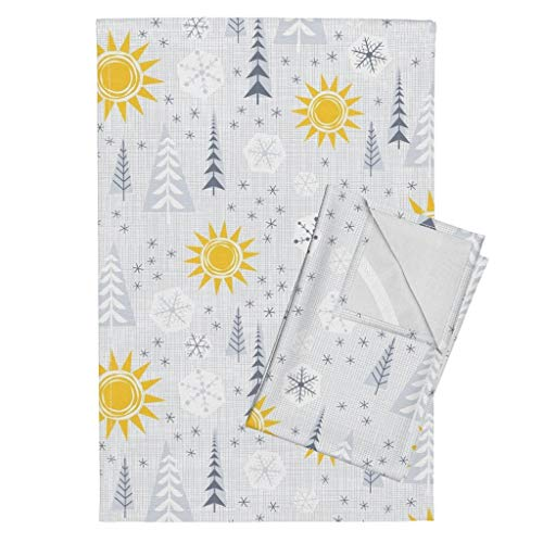 Roostery Winter Mod Tea Towels Pine Trees Winter Scene Snow Flakes Yellow and Gray Seasonal Yellow Sun by Byre Wilde Set of 2 Linen Cotton Tea Towels