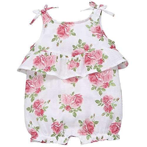 Mud Pie Baby Girl's Muslin Rose Bubble (Infant) Pink 6-9 Months