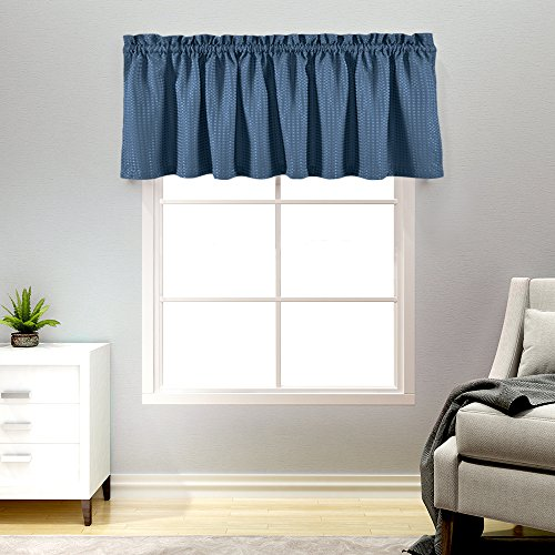Lazzzy Navy Blue Waffle Weave Textured Valance for Bathroom Water Repellent Window Covering for Kitchen 1 Panel 60 by 18 Inch (Best Window Coverings For Kitchen)