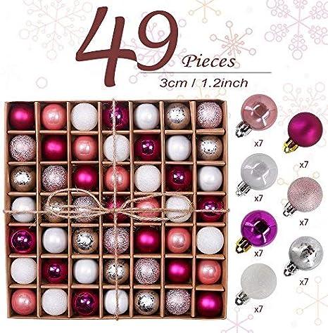 Valery Madelyn 49pcs 3cm Boules de No/ël D/écoration de Boule de No/ël Incassable Rose et Argent Enduite de Sucre pour la D/écoration darbre de No/ël