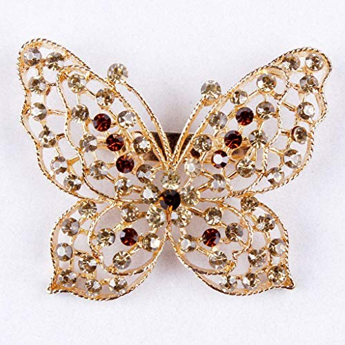 Lovely Butterfly Style Womens Crystal Rhinestone Brooch Pin Jewelry Choose Color | Main Colour - Champagne