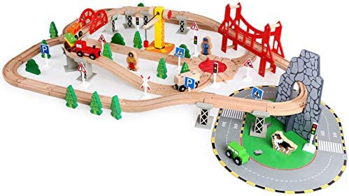 XIALIUXIA 100Pcs Wooden Train Set Accessories/Solid Wood Rail Transit Scene Train Set/DIY Assembled Toy ModelBoys Girls Pretend Game Train City Playing Kit for 3 4 5 6 7 8 Years