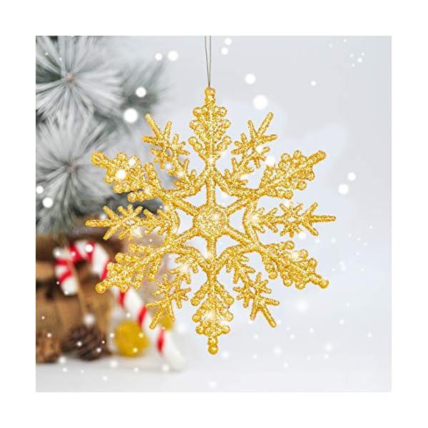 Fiocchi di Neve Decorativi Natale, Decorazioni Albero Natale, Fiocchi di Neve di Glitter, Fiocchi Neve Decorativi, 24 Decorazioni Fiocchi Neve per Decorazione Albero di Natale da Appendere (Oro) 3 spesavip