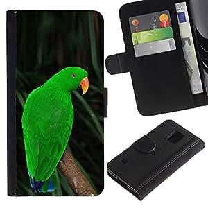 Billetera de Cuero Caso Titular de la tarjeta Carcasa Funda para Samsung Galaxy S5 V SM-G900 / parrot parolee green nature tropics / STRONG