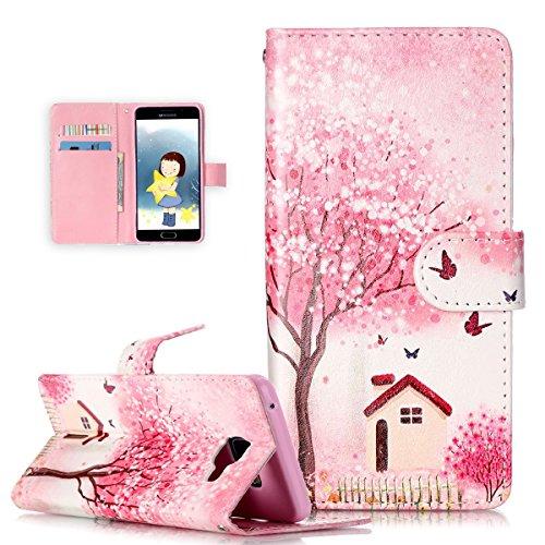 Galaxy A5(2016) caso, Galaxy A5(2016) funda Wallet, ikasus hermoso patrón pintado funda de piel sintética plegable tipo cartera, funda de piel tipo cartera funda con función atril para tarjetas de c Pink Flower Tree Butterfly