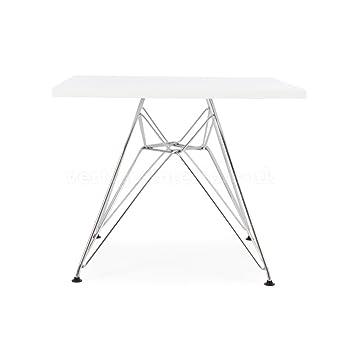 Vertigo Interiors USA Eames Style Kids Dining Play Table Metal DSR Eiffel  Leg, Square White