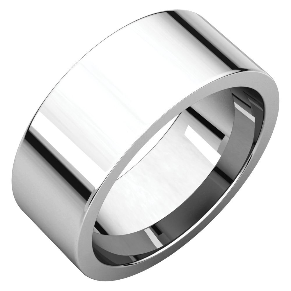 STU001- 10K White 8mm Flat Comfort Fit Wedding Band