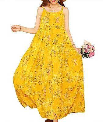 YESNO E00 Women Casual Loose Bohemian Floral Print Empire Waist Spaghetti Strap Long Maxi Summer Beach Swing Dress