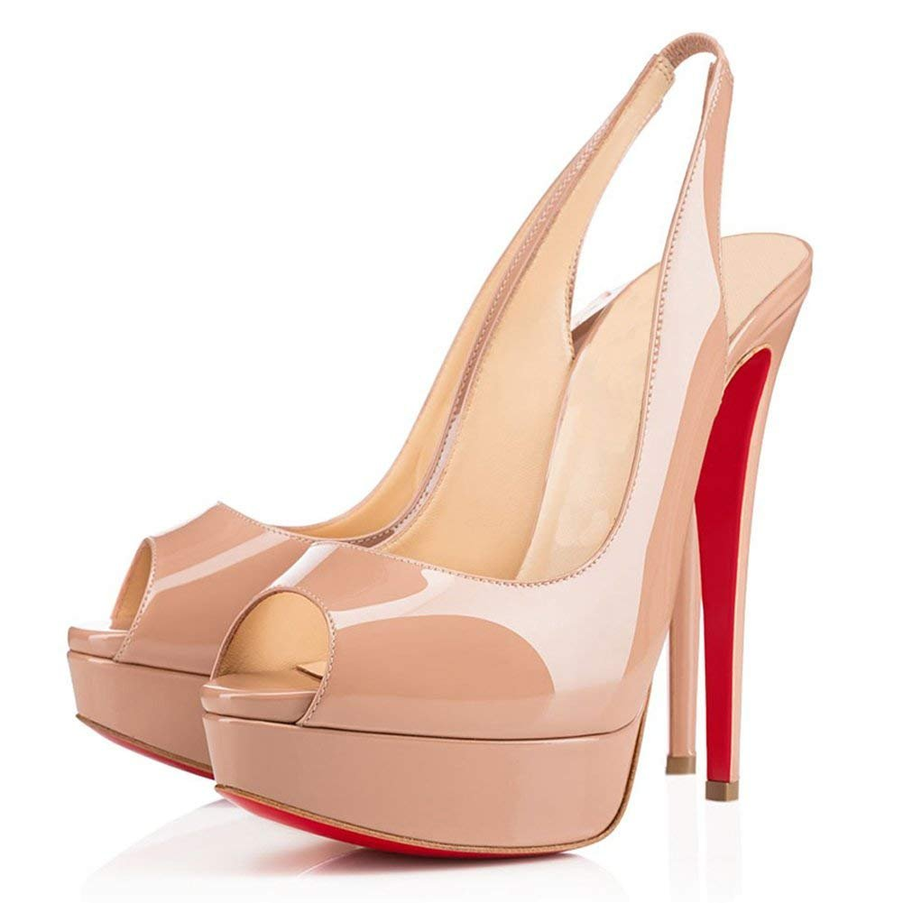 Caitlin Pan Womens Peep Toe Pumps Platform Stiletto Sandals High Heels Slip On Dress Pumps 5-14 US B07FCH491K 13 M US|Nude Patent/Red B0tt0m