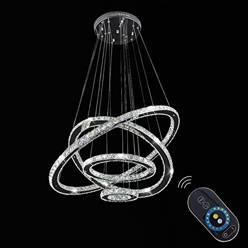 VALLKIN Dimmable Modern Round Ring Clear K9 Crystal Chandeliers Lighting Ceiling Fixture Lamp 4 Rings for Living Dining Conference Bedroom Foyer Hallway