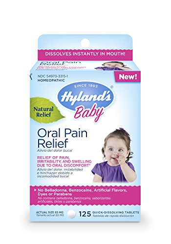 Hyland's Baby Oral Pain Relief Tablets, Soothing Natural Relief of Oral Discomfort, Irritability, and Swelling, 125 Count from Hyland's Homeopathic