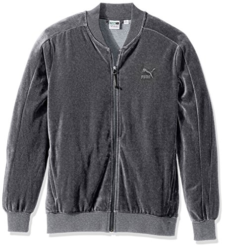 PUMA Men's Velour T7 Jacket, Medium Gray Heather, Small