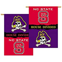 BSI NCAA North Carolina State Wolfpack 2-Sided Banner with Pole Sleeve House Divided, One Size, Team Color, White