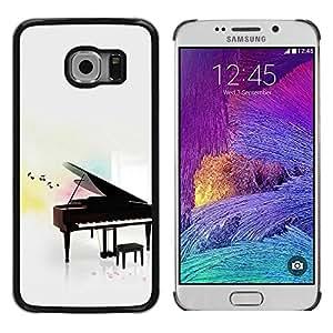 FECELL CITY // Duro Aluminio Pegatina PC Caso decorativo Funda Carcasa de Protección para Samsung Galaxy S6 EDGE SM-G925 // Music Play Instrument Notes White