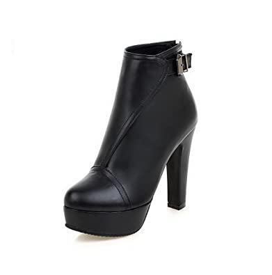 Women's Zipper High-Heels PU Solid Low-top Boots