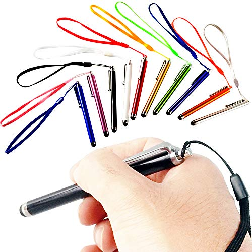 WAHAH Stylus 10-Pack 10 Color Touch Screen Stylus Pen High Sensitive with Lanyard for Touch Screens. Stylus Point Pen for Interactive Touch Display for Classroom, Stylus for Tabet