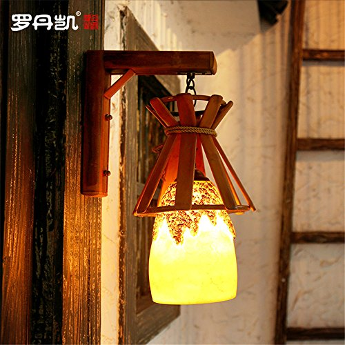 JhyQzyzqj Wall Sconce Wall Lights Nordic American Retro Creative Living Room Restaurant Corridor Aisle Personality Wall lamp Lights Resin Bamboo Bamboo Wall lamp