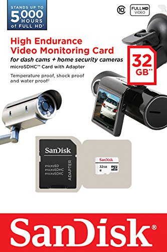SanDisk High Endurance Video Monitoring Card with Adapter 32GB (SDSDQQ-032G-G46A) 2 Ideal for dash cams and home video monitoring cameras Specially developed for high endurance applications Up to 5,000 hours of Full HD video recording