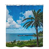 Plant Shower Curtain, Sky Shower Curtain, Pop Palm Trees and Tropical Beach Shower Curtain - 60 x 72 Inches