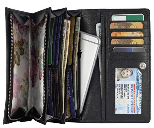 (Mou Meraki Women RFID Blocking Real Leather Bifold Wallet-Clutch For Women-Shield Against Identity Theft (BLACK))