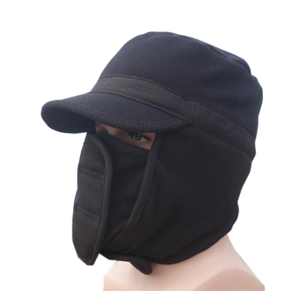 Mens Winter Warm Double Thick Outdoor Riding Cycling Skiing Windproof Hat Cap Ear Hat Mask Hat Cap Black
