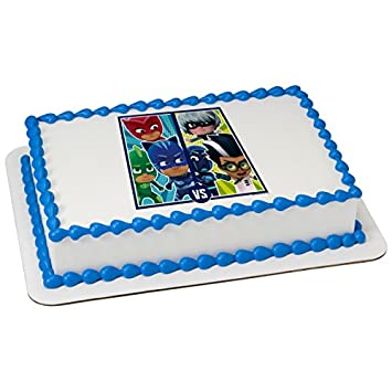 Image Unavailable Not Available For Color PJ Masks Versus Licensed Edible Sheet Cake Topper