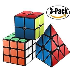 Speed Cube Set, Magic Cube Set of 2x2x2 3x3x3 Pyramid Pyraminx Smooth Puzzle Cube