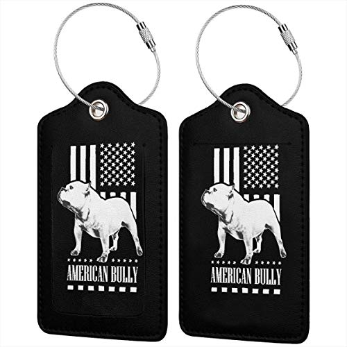 Leather Luggage Tags American Flag Bully Name ID Labels For Travel Suitcase Baggage Bag Set Of 2