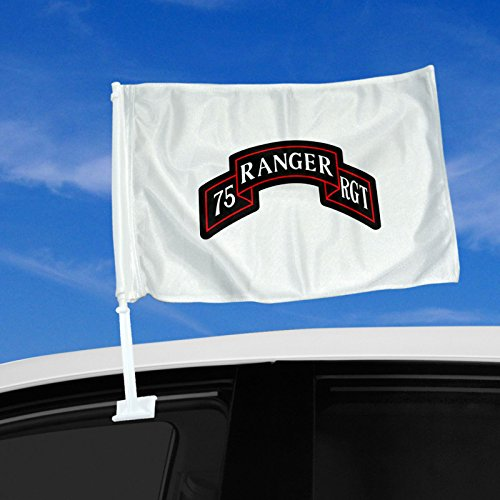 """Double Sided Car Flag - 12"""" x 15"""" with US Army 75th Range..."""