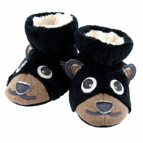 Acorn Bear Booties for Infant/Toddler, Black, (0-6 M US Toddler)