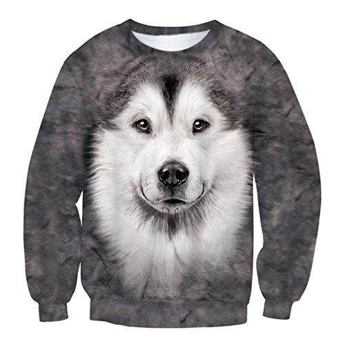 TSlook Men Funny Dog Huskies 3D Sweatshirt T Shirt X-Large