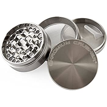 Chromium Crusher 2.5 Inch Zinc 4 Piece Tobacco Spice Herb Grinder - Gun Metal Color