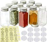 SimpleHouseware 12 Square Spice Bottles w/label Set