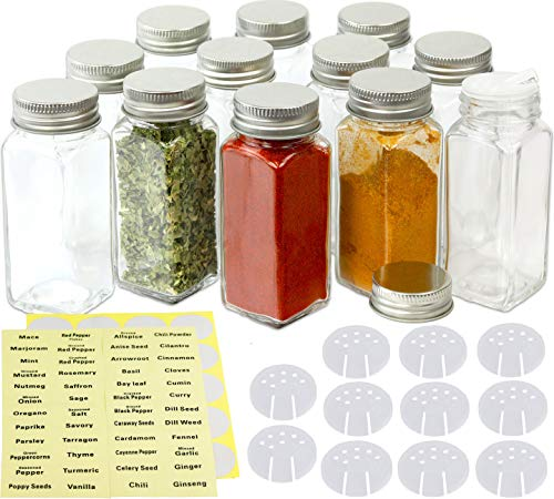 Square Glass Spice - SimpleHouseware 12 Square Spice Bottles w/label Set