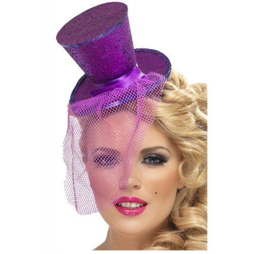Fever Women's Mini Top Hat on Headband, Purple, One Size, 21299 ()