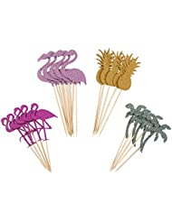 Partico Cake Topper Pink Flamingo Pineapple Cupcake Picks for Luau Hawaii Birthday Wedding Beach Party Decoration – 24 Pack