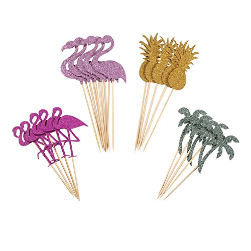 Partico Cake Topper Pink Flamingo Pineapple Cupcake Picks for Luau Hawaii Birthday Wedding Beach Party Decoration - 24 Pack