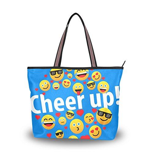 tout Main Drôle Emoji Grand Fourre Sac À Cheer Alaza D'épaule Up Coeur U4vEIq