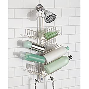 Superb MDesign Shower Caddy With Hooks, Storage For Shampoo, Conditioner, Soap    Extra Large, Satin