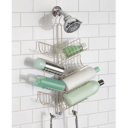 Mdesign shower caddy with hooks storage for shampoo for Cesta ducha colgar