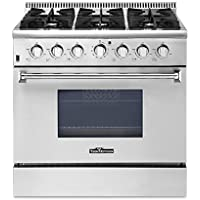 THOR KITCHEN High-end Style 36' 6 Burner Gas Range 5.2 Cu. Ft Good Quality Stainless Steel Free Standing Gas Range Professional Kitchen Cooker