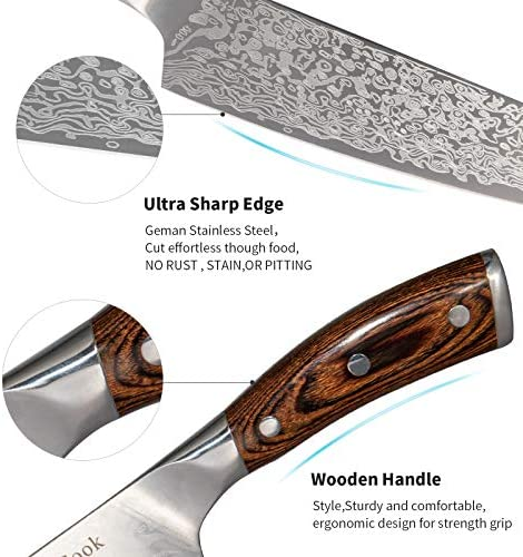 SanCook Chef Knife 8 Inch Super Sharp Professional Kitchen Knife,Meat Cleaver Knife German High Carbon Stainless Steel 4116 Ergonomic Handle-Chopping Knife with Color Wood Handle Damascus pattern